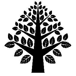 多くの葉の無料アイコンとツリー左右対称の美しい形状
