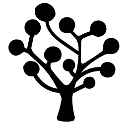 無料のアイコンを円形の葉の木のシルエット