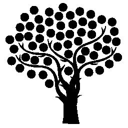 細い枝と小さなドット葉無料アイコン ツリー