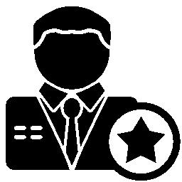 無料の星のアイコンを持つ男性