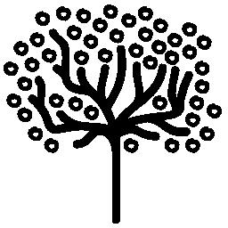 ツリー図形の小さな葉のサークルとの薄いトランクの概要無料アイコン