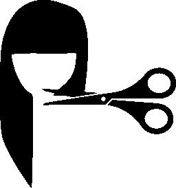 女性の髪カットはさみ無料アイコン
