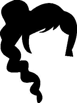暗い長い髪雌性少年スタイル無料アイコンの形状
