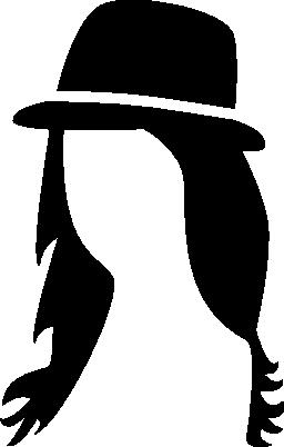 帽子の無料アイコンと長い髪