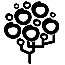 手の木を描く葉円無料アイコン