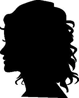 女性のシルエットの頭側表示無料アイコン