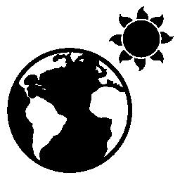 地球と太陽の無料アイコン