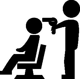 彼の前の椅子に座っているクライアントの髪を乾燥美容院無料アイコン