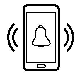 電話警報ベルを鳴らすシンボル無料アイコン