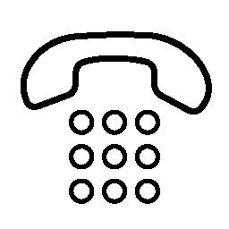 9 つの円形のボタン無料アイコンと耳介電話