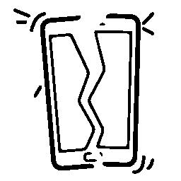 無料のアイコンを 2 つの部分に壊れた携帯電話