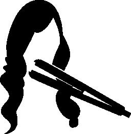 長い女性の髪の無料のアイコンの毛矯正