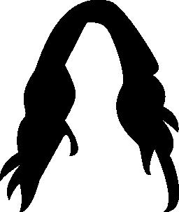 女性の長い黒髪ウィッグ無料アイコン