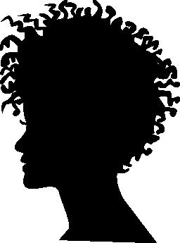 女性ヘッド シルエット短い縮れている髪スタイル無料アイコン