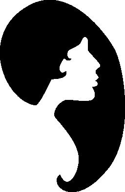 女性の髪の形状と顔のシルエットの無料のアイコン