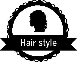 女性の毛サロン無料アイコンの髪スタイルのバッジ