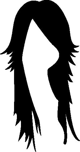 長く暗い女性少年かつら無料アイコン