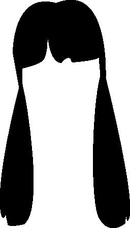 両方側面無料アイコンに掛かる 2 つのポニーテールで若年女性髪