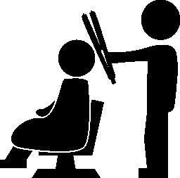 美容院の椅子無料のアイコンの上に座ってクライアントの背後にある毛矯正の側に立って