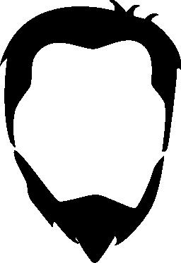 男性の頭の髪とひげ無料アイコン