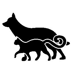 犬と猫の友人に並んで歩いて無料のアイコン