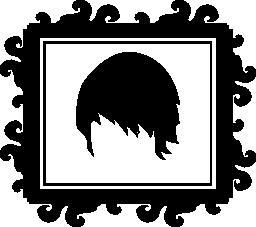 短い髪髪サロン無料アイコンの長方形のミラーに反射に図形