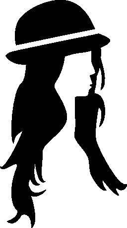 女性の髪帽子無料アイコン