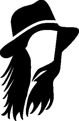 帽子無料アイコンと男性長い髪