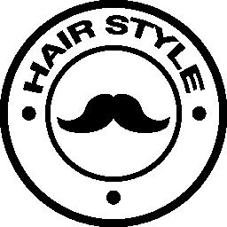口ひげの無料アイコンと髪スタイルのバッジ