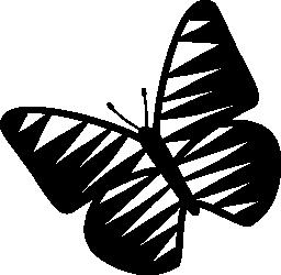 無料のアイコンを左に回転ストライプの翼を持つ蝶します。