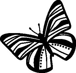 無料のアイコンを左に回転トップ ビュー ストライプ翼を蝶々 します。