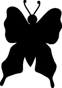 蝶トップ ビュー黒いシルエット無料アイコン