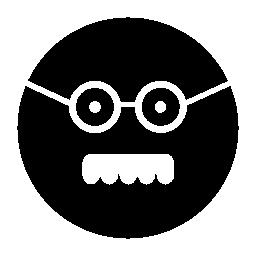 男性の四角い顔メガネと口ひげ無料アイコン