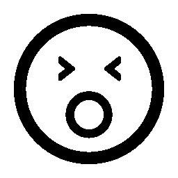あくび絵文字四角い顔無料アイコン