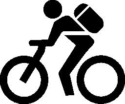 無料アイコンのバイクでバッグを持つ男