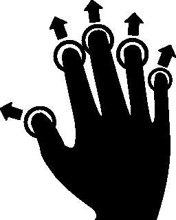 スライドし、無料のアイコンを展開するすべての指をプッシュします。