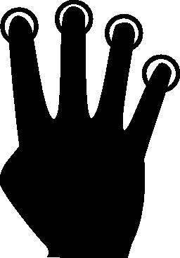 プッシュの 4 本の指の無料のアイコン