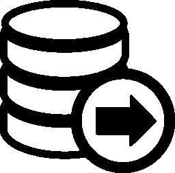 無料のアイコン右を指す矢印を使用してデータベース
